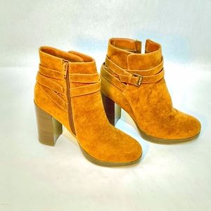 A New Day Brown Microsuede Ankle Boots Size 8 1/2